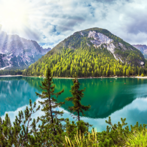 Mountains behind a large lake surrounded by trees.